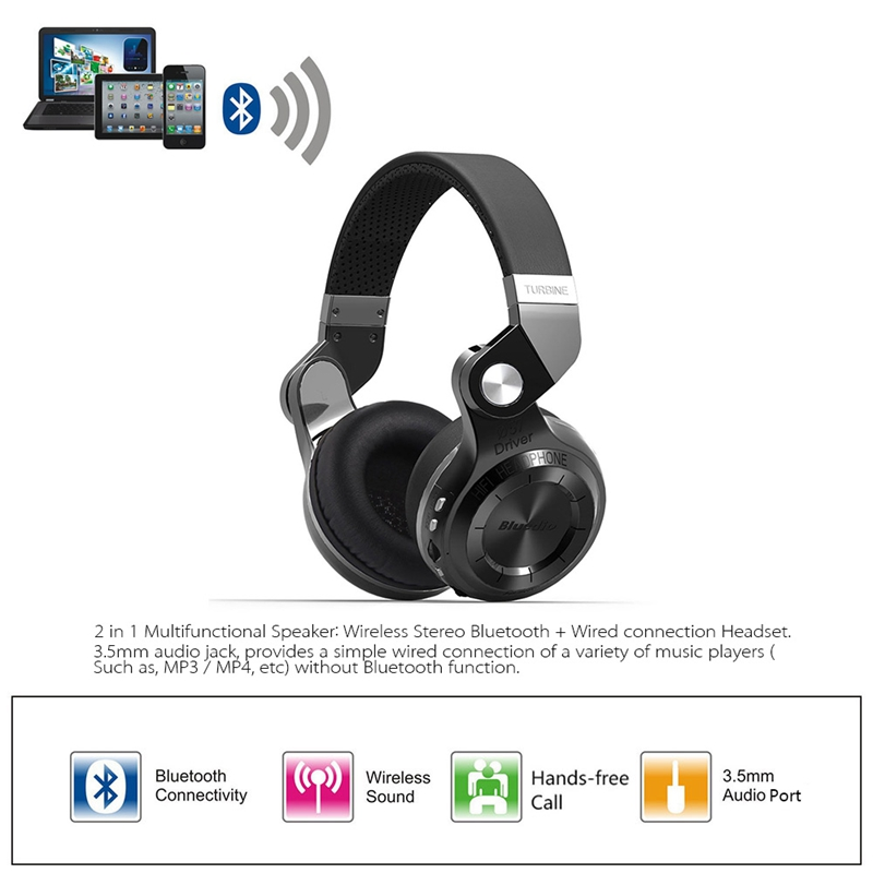 Original Fashion Bluedio T2 Turbo Wireless Bluetooth 4.1 Stereo Headphone Noise canceling Headset with Mic High Bass Quality