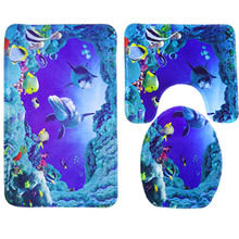 Hot 3Pcs Sea World Design Bathroom Carpet Shark Cartoon Pedestal Lid Mat Cute Toilet Rug for Bathroom 2017