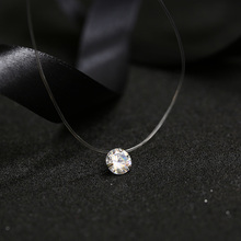 FYM 9 color Dazzling Zircon Necklace Invisible Transparent Fishing Line Simple Pendant Necklace Jewelry for women party(China)