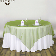 10 pcs Wedding Table Cloth Organza Fabric Banquet Tablecloths Square Wedding Table Cover Party Decoration Home Textile(China)