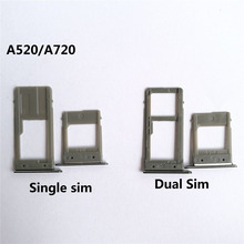 For Samsung Galaxy A520 A720 A5 2017 A7 2017 Single Sim & Dual Sim SIM Card Tray Sim Slot SD Card Holder Adapter Spare Parts(China)