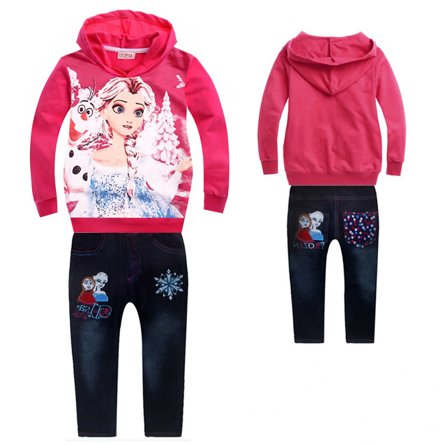 2017 new arrival girls clothing sets baby kids Hoodies Jeans sets coats Jeans sets Elsa and Anna toddler girl clothing cartoon<br><br>Aliexpress