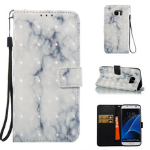 Marble Pattern Faux Leather Flip Case with Mount Stand for Samsung S7 S7 Edge(China)