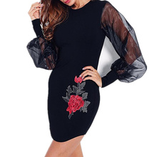Sexy Black Women Mini Dress Mesh Hollpw Out Floral Appliques Cocktail Party Dresses For Women WS3149U(China)