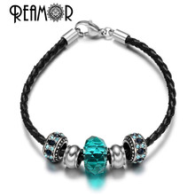 REAMOR Pan Style 316l Stainless Steel Floating Crytal Spacer Beads Black Leather Chains Blue Cyan Bracelet Charms Fit Jewelry(China)