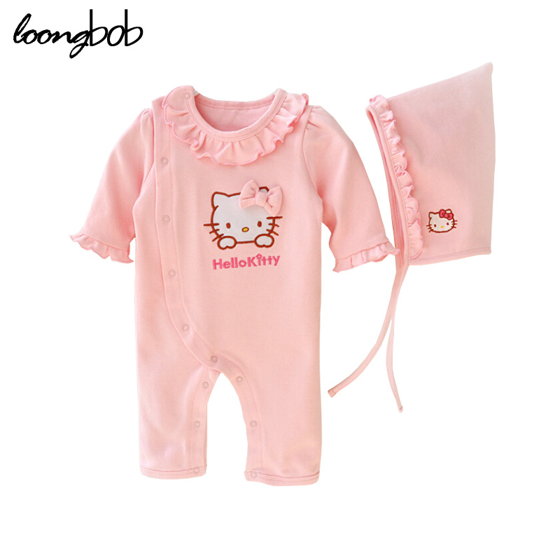 2 Pcs Newborn Girl Organic Cotton Hello Kitty Romper Set Baby Cute Pink Jumpsuit with Hat New Born Ruffled Collar Bowknot Outfit<br><br>Aliexpress