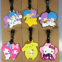 50pcs/lot EMS Japan Cartoon Sanrio Melody Hello Kitty Little Twin Stars Action Figure Doll Cute Kiki Lala for Kids Luggage Tag