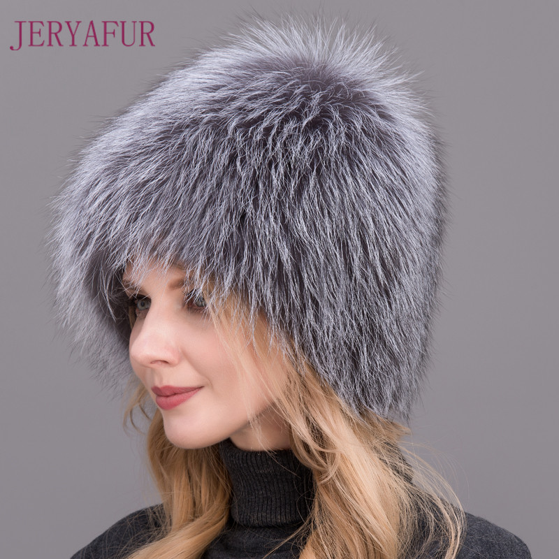 2017 Winter Must Hot Sale Natural Silver Fox Fur Hat Women Winter Knitted Fur Cap Women Hat Fox Fur Bomber Hat Female Ear WarmÎäåæäà è àêñåññóàðû<br><br>