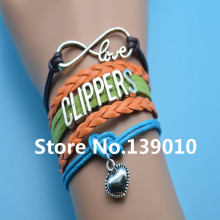 Infinity Love Clippers Heart Bracelet Orange Grean Blue Brown Leather Rope Cuff Customize Men Basketball West Team Sport Bangles(China)