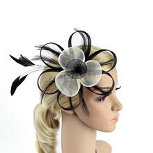 Women Net Feather Fascinator Hair Clip Great Gatsby Wedding Cocktail Ascot Race Party Hair Decor Headwear Hair Accessories(China)