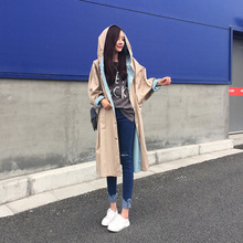 2016 Women Fashion Trench Coats Loosen Long Outerwear Plus Size Hooded Autumn Trench Female Printed Winter Coat Women