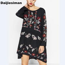 New 2017 Spring Euro Women Vintage Retro Long Sleeve O Neck Flower Embroidery Mini Dress  Vestidos Brand Party High Quality