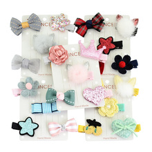 5pcs/set kids hair clips New Fashion Different Designs Flower Crown Stars  Bows With clip bow for girls hair accessories