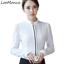 Buy Fashion Women Clothes 2017 Elegant White Blouse Female Shirts Ladies Work Wear Office Long Sleeve Stand Collar Plus Size Tops for $16.29 in AliExpress store