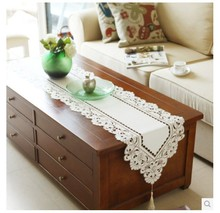 (40cm*150cm) Sale Elegant 100% Polyester Floral Table Runner Embroidery Tablecloth Embroidered Table Cloth Linen Cover Cutwork