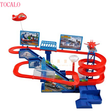 Thomas And Friends Electric Trains Set With Music and Lighting Including 5 cars Thomas Trackmaster Climbing Stairs Kids Gifts(China)