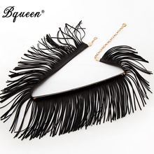 Bqueen Unique Fation Tassel Waist Accessories Wide Metal Waist Chain Pu Belts