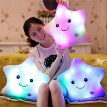 Hot Creative Light Up LED Star Luminous Pillow Children Stuffed Animals Plush Toy Colorful Glowing Star Christmas Gift for Kids(China)