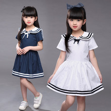 Fashion Kids Clothes White Navy Striped Bottom New Casual Toddler Children 2 3 4 5 6 7 Year Old Girl Clothing Dresses 2017