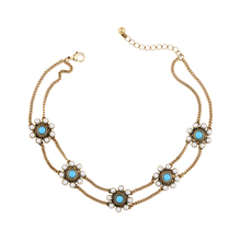 Bib Short Necklace Perfume Women Collar Chokers Imitation Pearl Blue Flower Necklace Vintage Jewelry