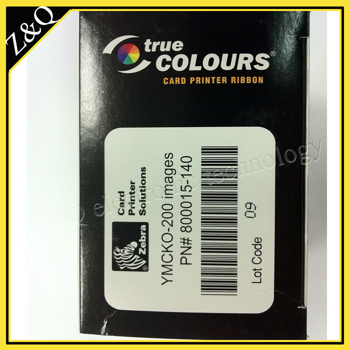Original Zebra  800015-140 YMCKO Color Ribbon for P300C, P310C printers - YMCKO - 200 prints<br>