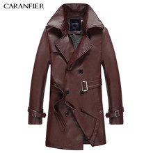 CARANFIER Classic Fashion Men Long Trench Coat Motorcycle Jacket Vintage Windproof Thick British Businessmen Style Gentleman(China)