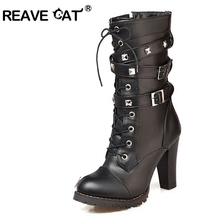 REAVE CAT Ladies shoes Women boots High heels Platform Buckle Zipper Rivets Sapatos femininos Lace up Leather boots 34-43 QA3646