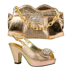 Peach Color Shoes and Bag Set Decorated with Rhinestone High Quality Italian Ladies Shoes and Bag Set for Wedding Nigerian Shoes