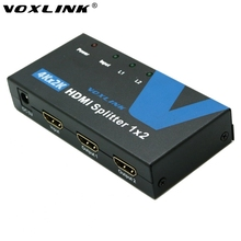 High Quality VOXLINK 1080P 2 Port HDMI Splitter 1X2 3D 4K*2K 1 in 2 out HDMI Switcher Splitter Converter Box For HDTV PS Xbox360