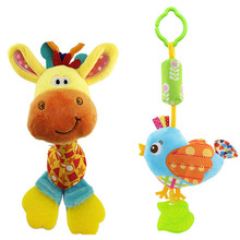 2pcs Baby Toys Soft Animals Animals Handbell Strollers Hanging Rattles Bar with BB Voice Teethers Plush toy wholesale(China)