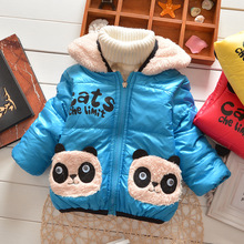 Selling 2016 New Children's Clothing Baby Panda Cartoon Smock Boy Winter Coat With Thick Overcoat Children Cotton Cotton-Padded