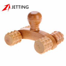 1Pc Wooden Car Roller Solid Wood Full-body Four Wheels Relaxing Hand Massage Tool Reflexology Face Hand Foot Back Body Therapy