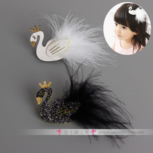 Beautiful White Swan Hair Clips Performance child Hair accessory Noble Kids Headband Girl Accessories(China)