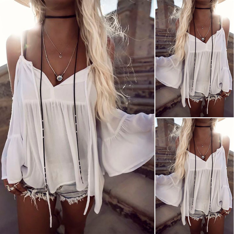New Women Clothing T-shirts Summer Loose Casual Chiffon Shoulder Tops Ladies Top Women Fashion New Clothes