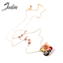 JOOLIM Jewelry Wholesale/ Enamel Flower Pendant Necklace Jewelry Factory free shipping High end(China)
