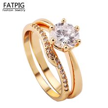 2016 New Size 7/8/9 Jewelry White Yellow Gold Filled Wedding Women Ring Set