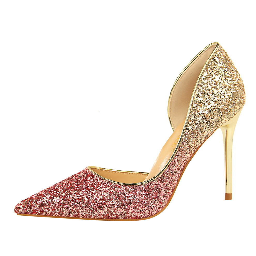 Gold Rose Glitter High Heels Sequins Stilletos Wedding Pumps