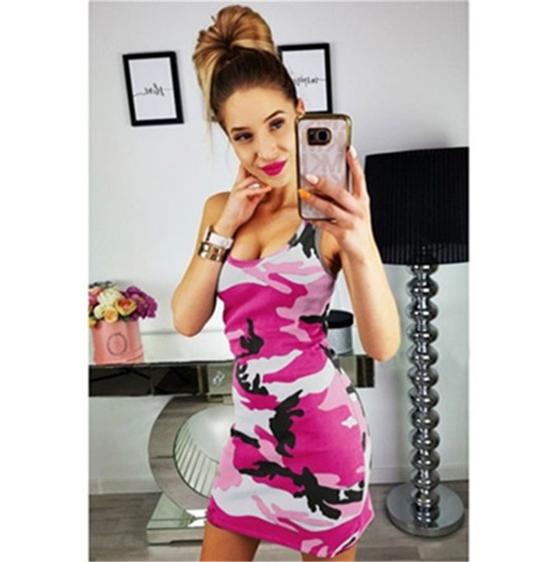 19 New Summer Fashion Women Sexy Tank Dress Slim Casual Camouflage Military O-Neck Print Splice Empire Mini Dresses Vestidos 8