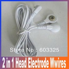 2 in 1 Head electrode wire /cable 2-way Electrode Pad Connector Wire for digital therapy machine massagers Free Shipping