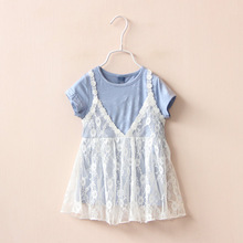 baby girl boy clothes Kid clothing Children's wear, spring, summer, new girls, lace, fake, two short sleeved dress, dress(China)