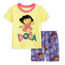 YS-86, Dora, 6sets, summer children girls clothing set, short sleeve T shirt  sets for 2-7 year, 100% cotton