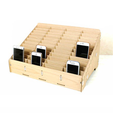 Wooden mobile phone management storage box creative desktop office meeting finishing grid multi cell phone rack shop display(China)