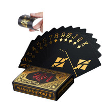 Nice magic Gold Foil Plated Poker Game Playing Cards Gift Collection Black Poker(China)