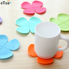 5Pcs 3D Flower Petal Shape Cup Coaster Tea Coffee Cup Mat Table Decor Mixed Colors Durable Pretty Drink(China)