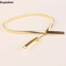 New Korean New Slim Stretch Belt Women All-match Gold Silver Simply Decorated Metal Waist Chain Belts