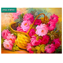 Home art 5D diy diamond painting cross stitch peony flower picture of rhinestone pattern full round diamond Mosaic resin crafts