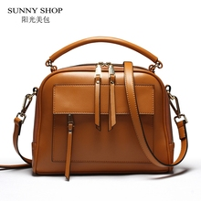 SUNNY SHOP Brand Designer Women Leather Bag High Quality Genuine Leather Handbag Cowhide Women Shoulder Bags Candy Color Gifts