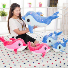 Cute Bow tie Dolphin Plush Toys Large size 40-70CM Kids baby Sea Fish cloth doll birthday gift for Children's stuffed plush
