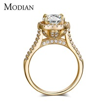 2017 new fasion jewelry real 925 sterling silver ring Gold Color Classic engagement wedding rings AAAAA Cubic zircon for women(China)
