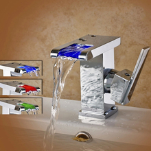 3 Colors Led Faucet Bathroom Led Waterfall Faucet 3 Colors Changed Water Powered Led Tap Basin Sink Mixer Tap(China)